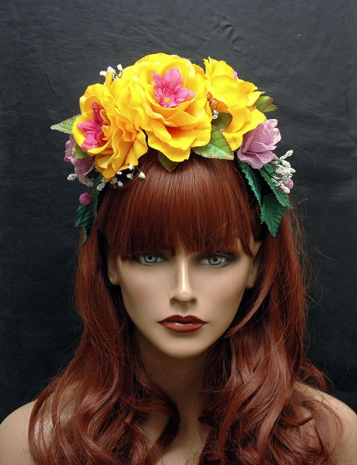 Flower Crown Headband Purple And Yellow Floral Hair Wreath Rose