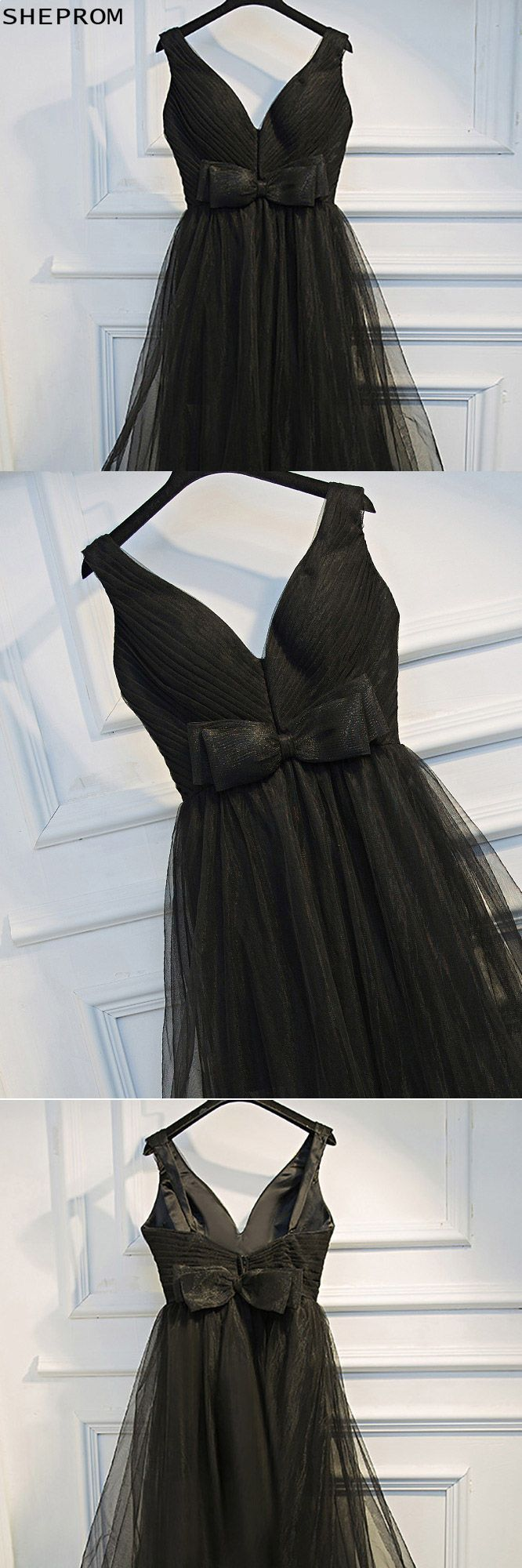 Super cute long black prom dress vneck with tiered tulle