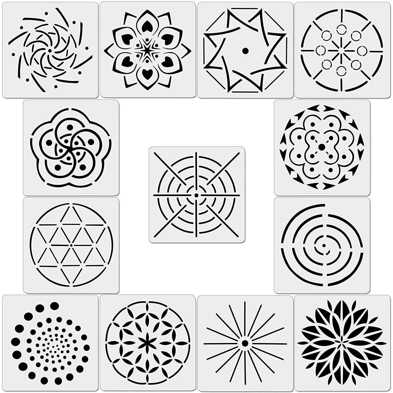 13pcs Pack Mandala Dot Painting Templates Stencils For Diy Etsy Dot Painting Mandala Stencils Mandala Design Pattern
