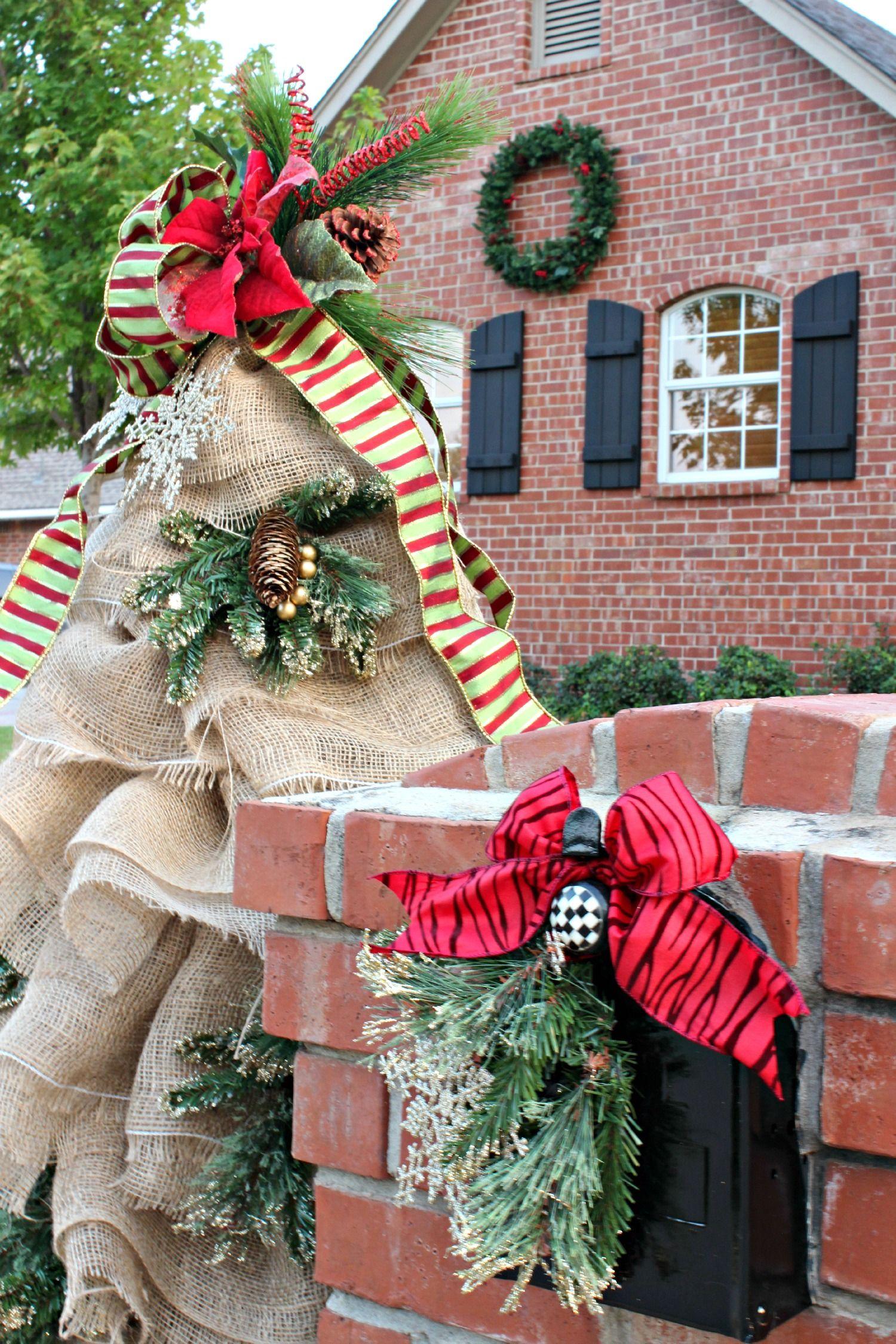 christmas mailbox decorations burlap and greenery - Christmas Mailbox Decorations Ideas