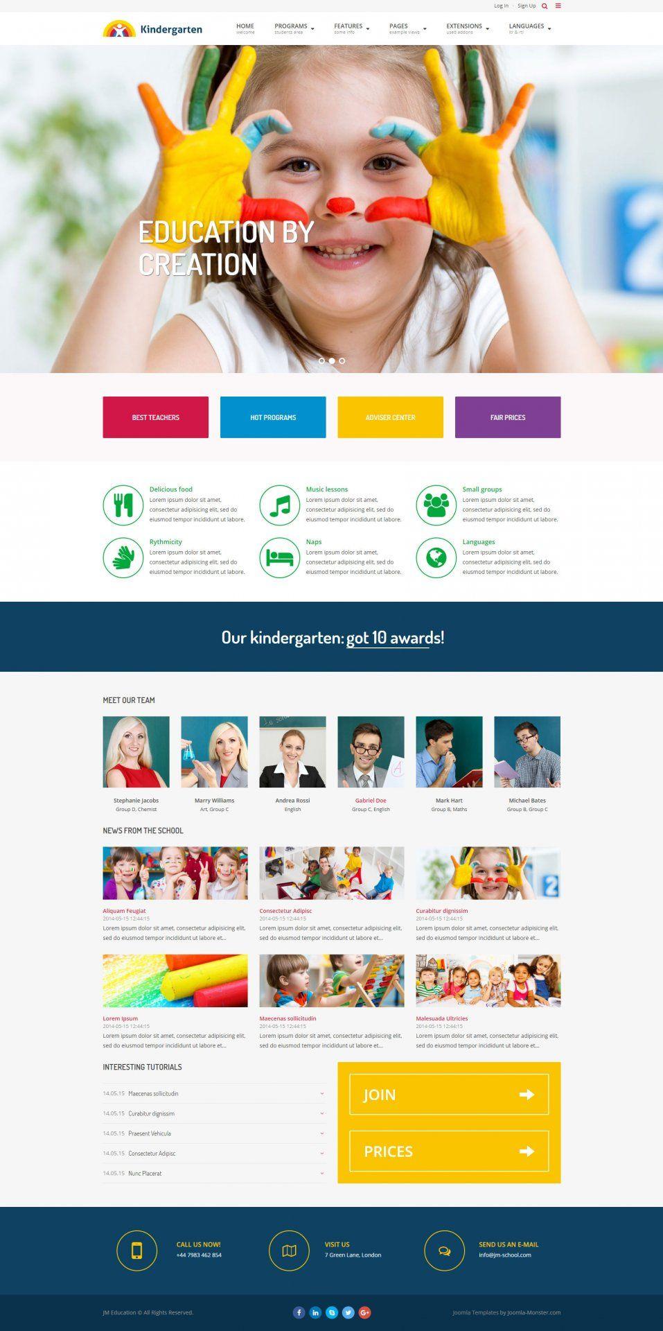 Kindergarten Joomla template version. JM Education - template for ...