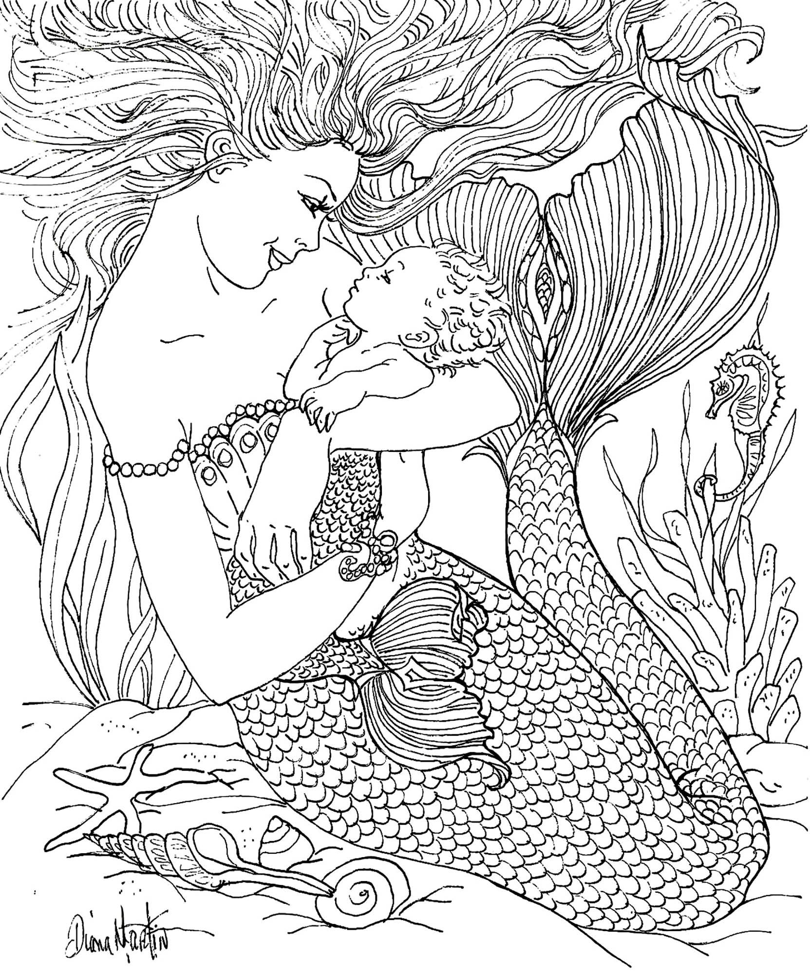 Mermaid coloring pages for adults - Mermaid By Diana Martin Coloring Book