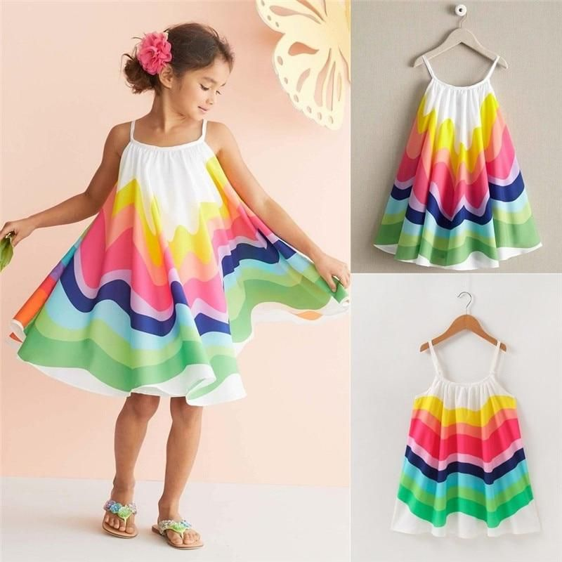 b451d2b7d2fd8 2019 Boho Toddler Kids Baby Girl Summer Clothes Swing Dress Rainbow  Sleeveless Strap Party Dress Girl Beach Sling Dresses 1-6Y