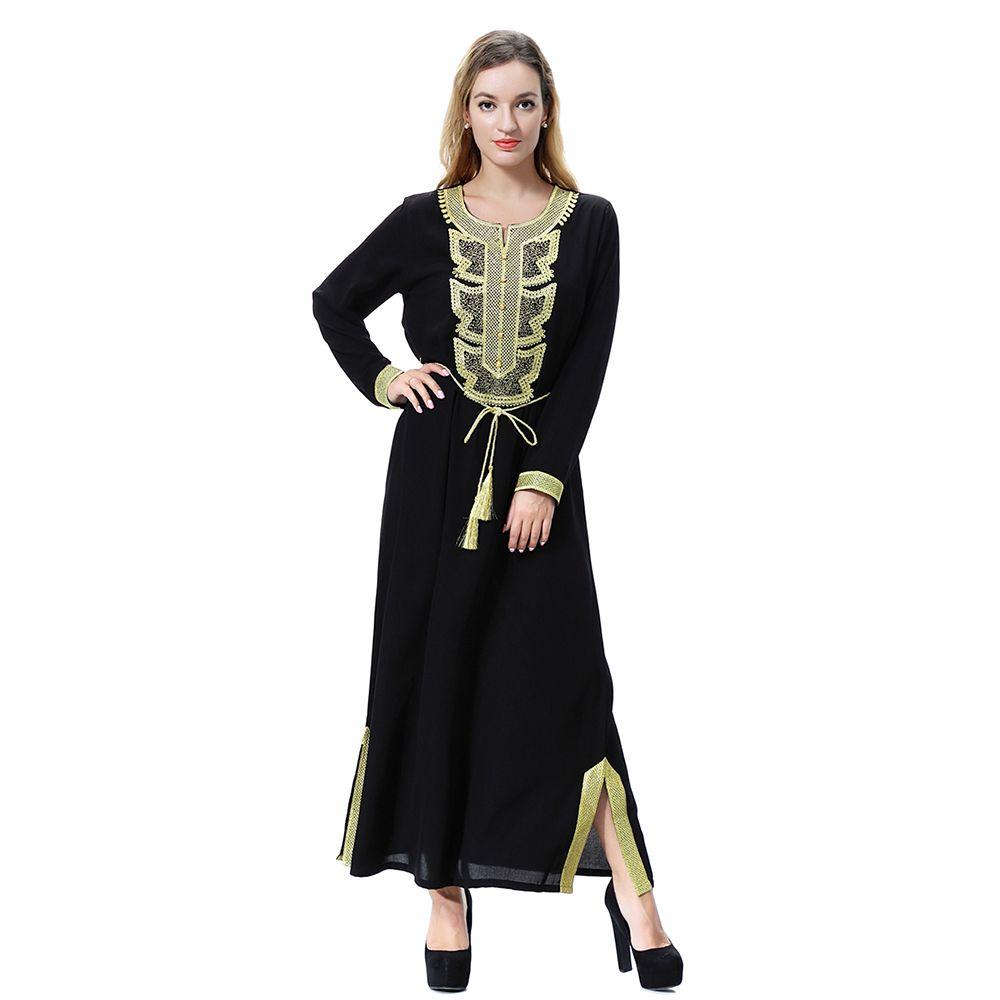3836a952ec3 Abaya Dress Muslim Women Long Sleeve Arab Maxi Abaya Islamic Clothing Robe  Kaftan Embroidery Gold Flower  Islamic clothing