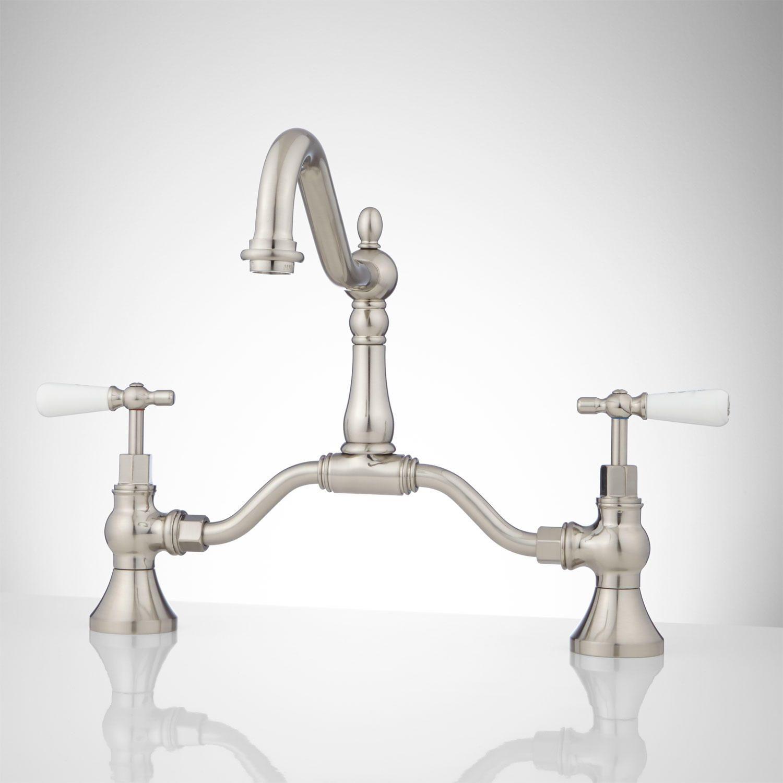 Elnora Bridge Bathroom Faucet - Porcelain Lever Handles | Faucet ...