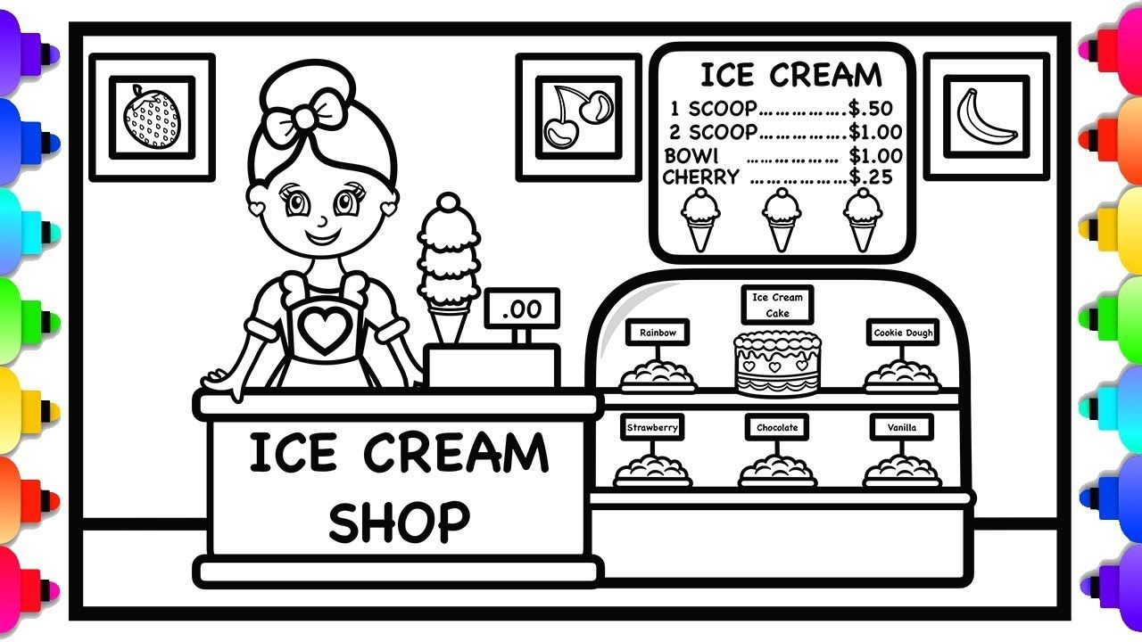 How To Draw And Color An Ice Cream Shop For Kids Ice Cream Shop Colo Coloring Pages Drawings Printable Coloring Pages