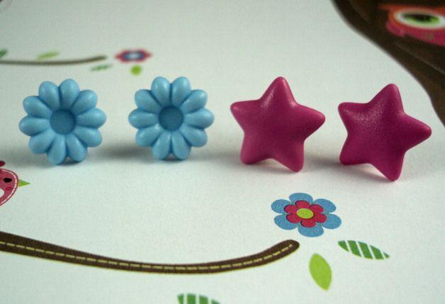 Blumen und Sterne Ohrstecker Set