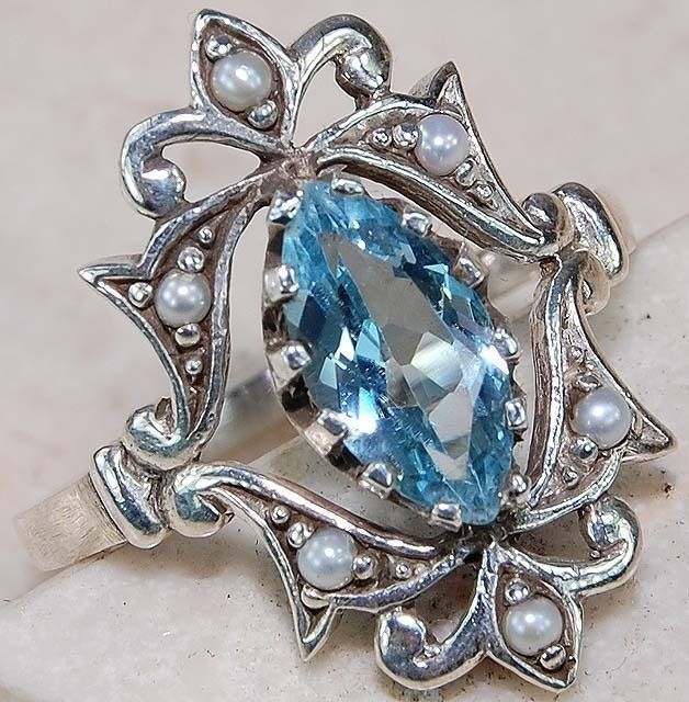 2CT Genuine Aquamarine & Seed Pearl 925 Solid Sterling Silver Art Deco Ring Sz 6 #OldEnglishSilver