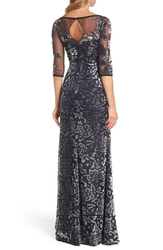 8286c9e3c7f Badgley Mischka Long-Sleeve Blouson-Top Beaded Crushed Velvet Evening Gown