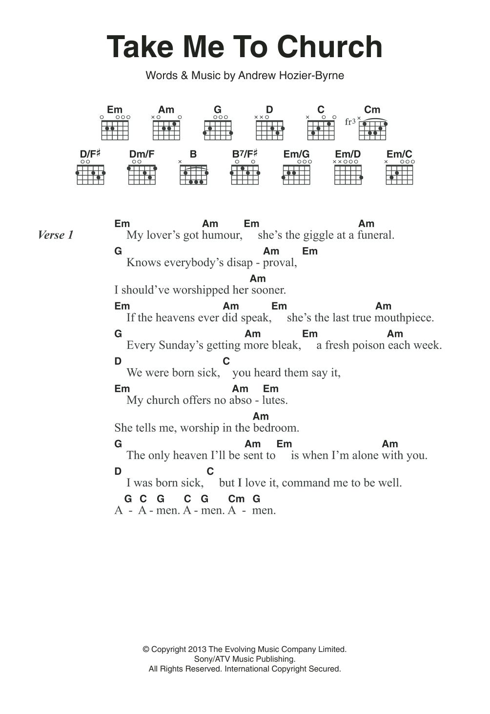 Take Me To Church Chords Ukulele Chords Songs Ukulele Songs Guitar Chords And Lyrics