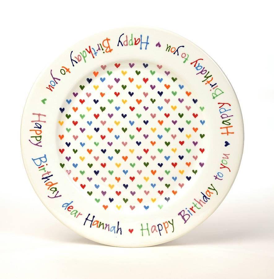 Personalised Love Heart Happy Birthday Plate. Ceramic ...  sc 1 st  Pinterest & Personalised Love Heart Happy Birthday Plate | birthday | Pinterest ...