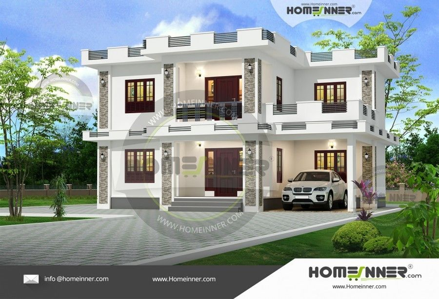 Marvelous Two Story Flat Roof House Designs Kerala