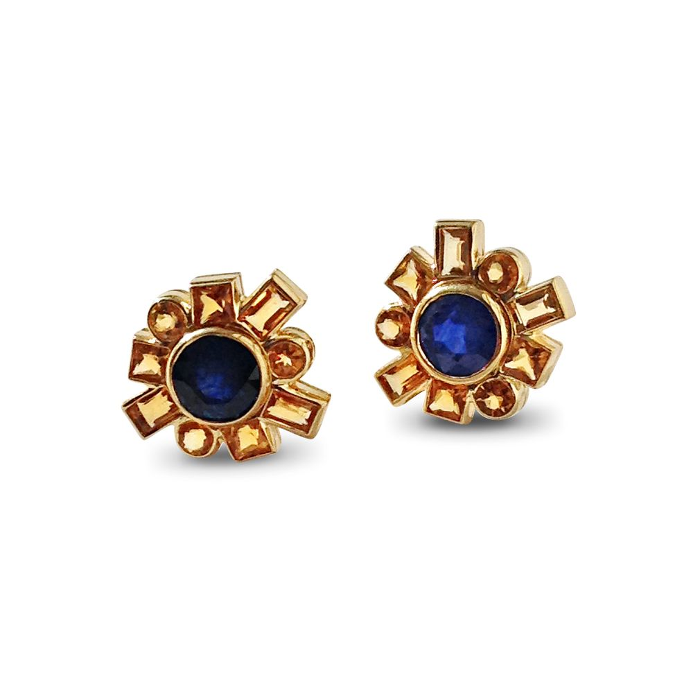Bespoke pair of round sapphire and citrine rub-over set cluster earrings, mounted in 18ct yellow gold.