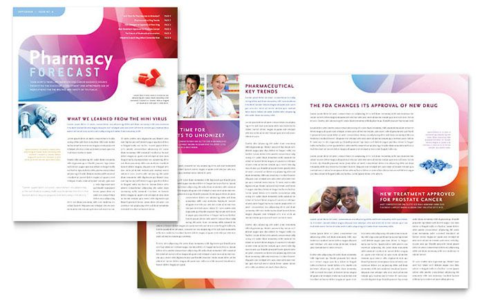 Pharmacy School Newsletter Design Template by StockLayouts - free newsletter templates for microsoft word 2007