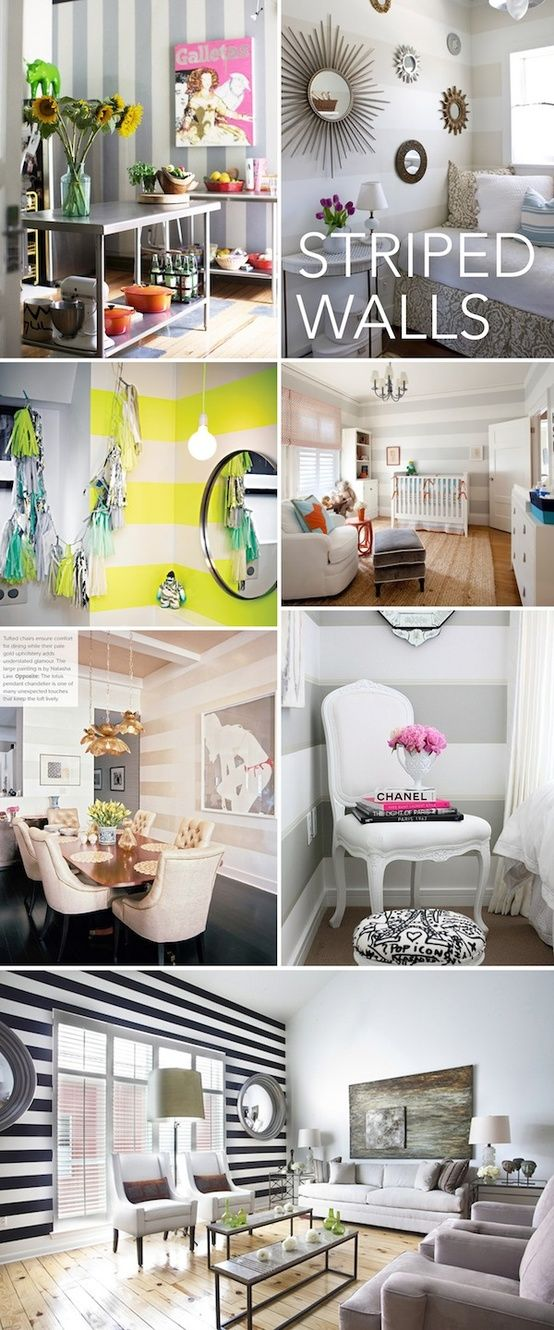 love the yellow and white striped wall!!!