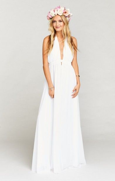Show Me Your MuMu Luna Halter Bridesmaid Dress in White Chiffon