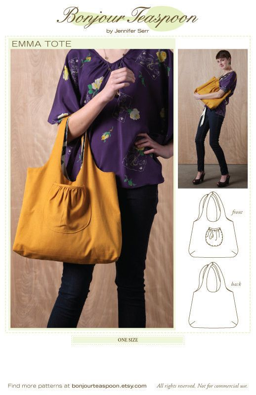 The Emma Market Tote Sewing Pattern One Size | Products | Pinterest ...