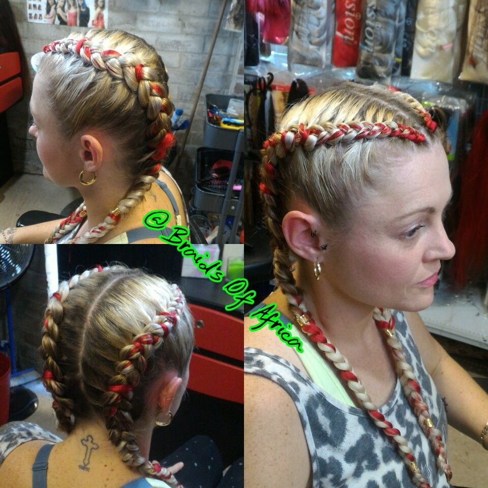 Two Cornrow Braids With Red Hair Extensions Two Cornrow Braids Red Hair Extensions Braids