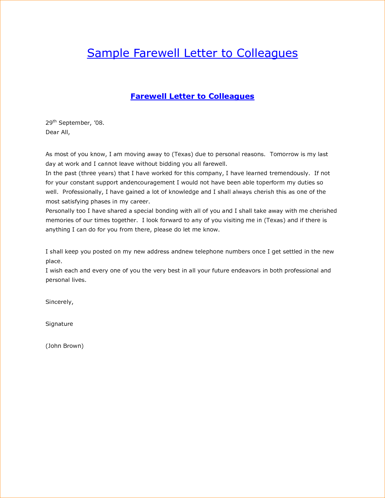 Sample Letter Colleagues After Resignation Resume Cover