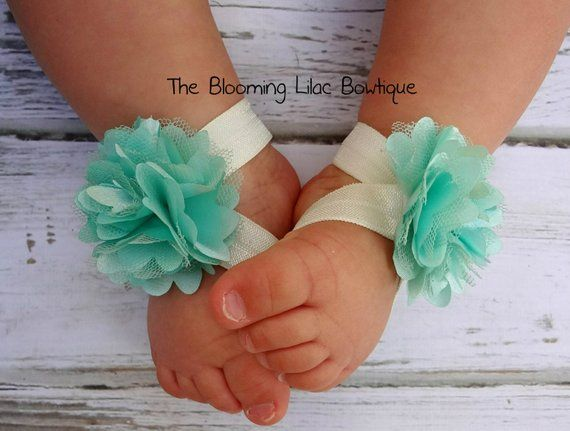Mint and Ivory Baby Barefoot Sandals  Newborn Baby Barefoot Sandals  Newborn Clothing   Baby Clot is part of Etsy Clothes Photography - TheBloomingLilacBowtiqueThank you for visiting my shop and have a great day!