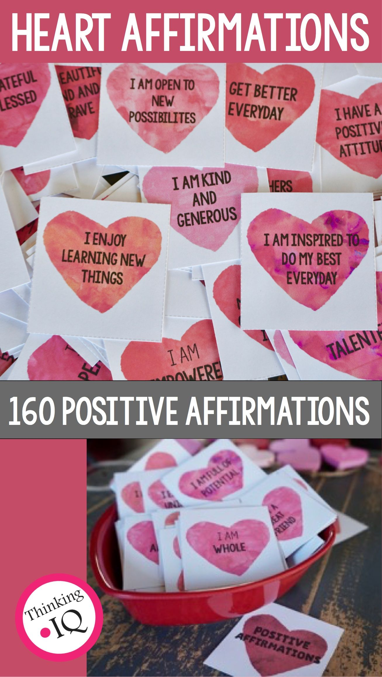 Valentine S Day Heart Positive Affirmation Cards