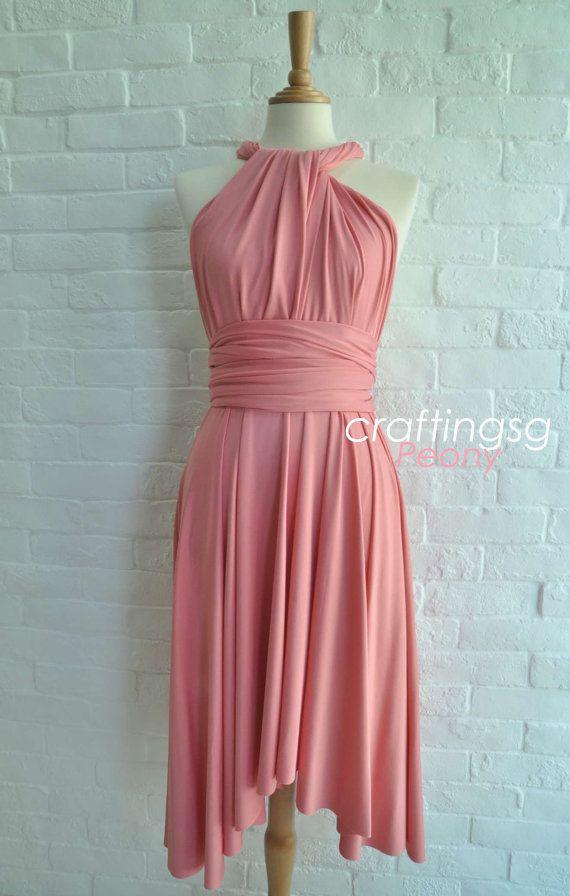 Bridesmaid Dress Infinity Dress Peony Knee Length Wrap Convertible ...