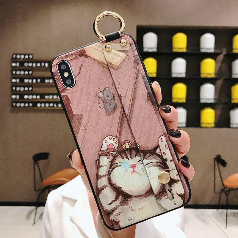 Custom wrist strap iphone case back cover soft tpu case