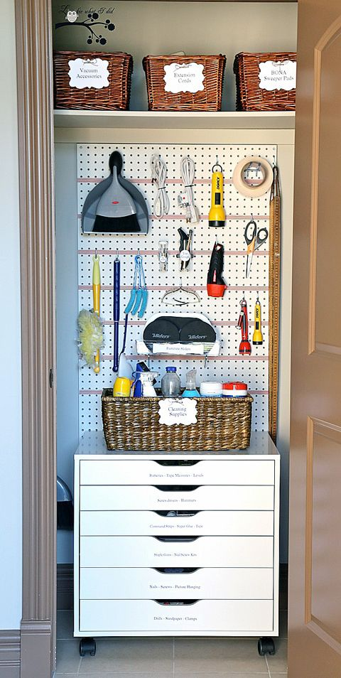 Lookie What I Did: A Well Organized Utility Closet   What A Great Idea For  The Laundry Room Closet!