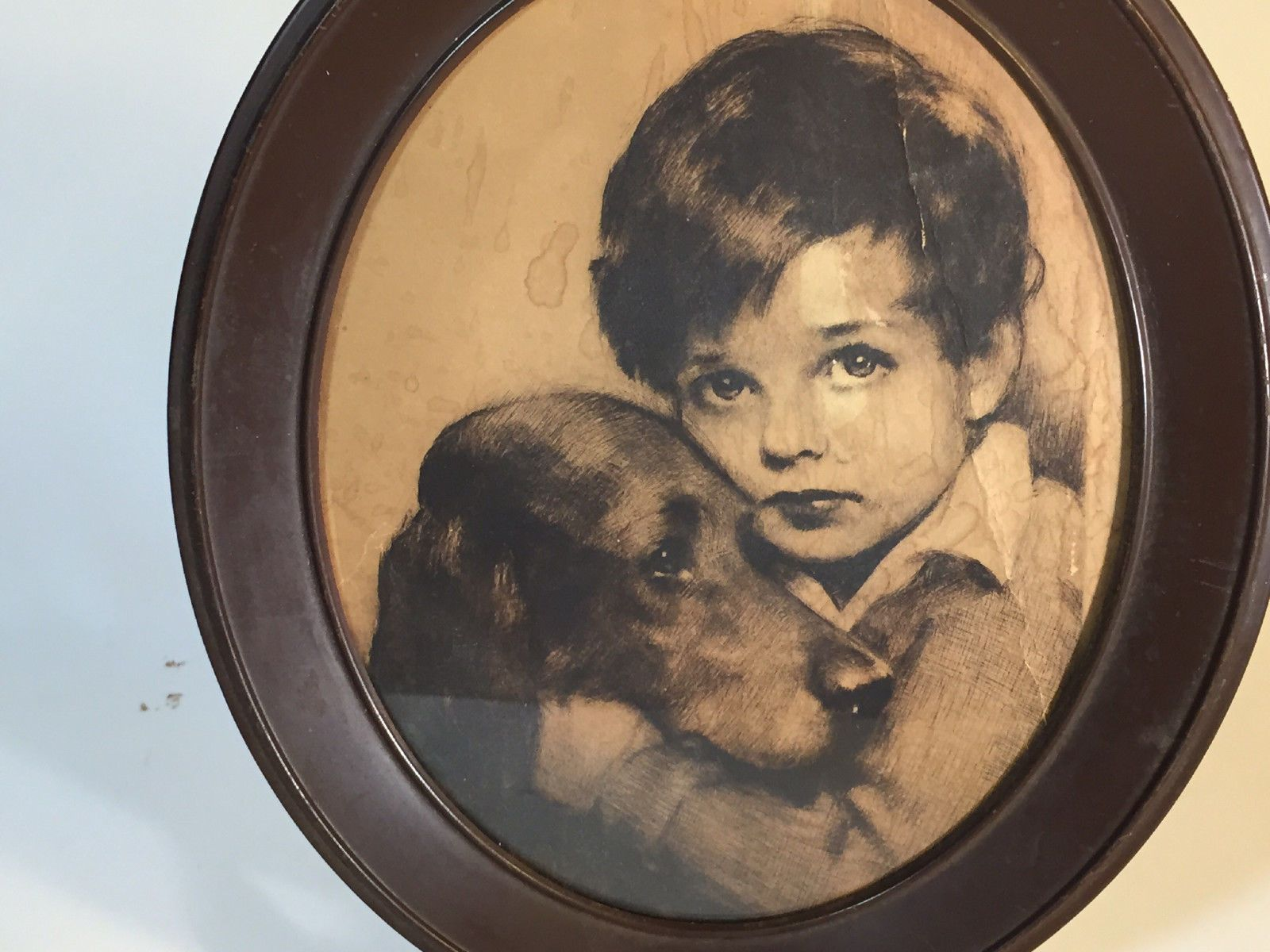 Vintage Print Drawing of Boy and Dog in Oval Wood Frame 11 x 9 Oval Shape