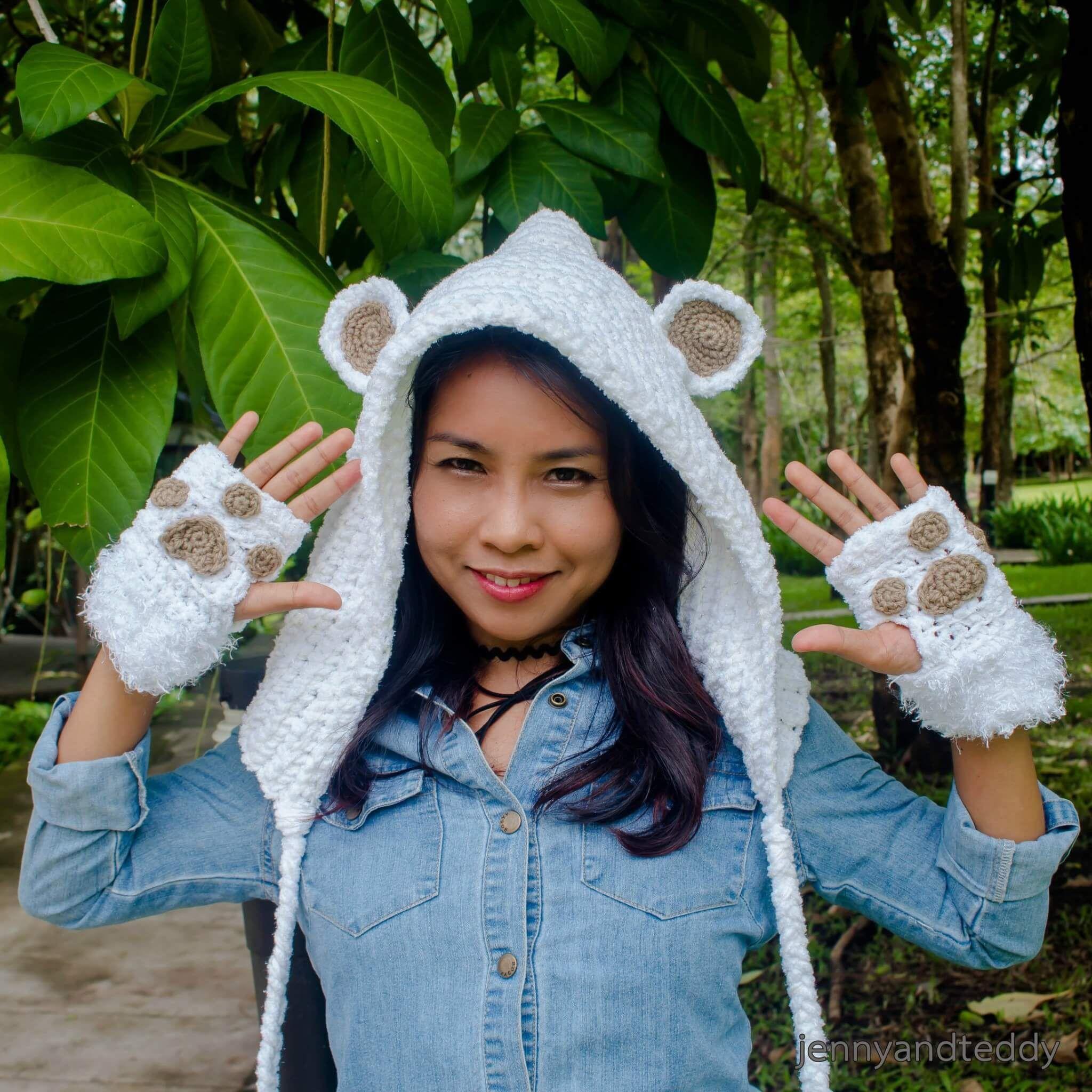 teddy bear hoodie crochet hat free pattern | animal hats | Pinterest