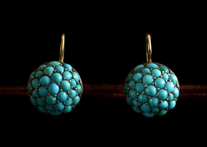 1870-80s English Victorian Turquoise Cluster Earrings