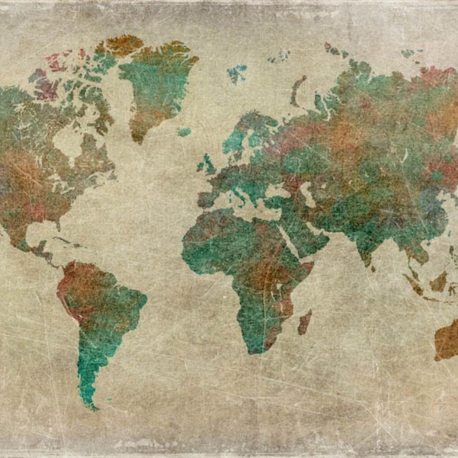 Carta da parati con mappa, planisfero, mondo, cartina