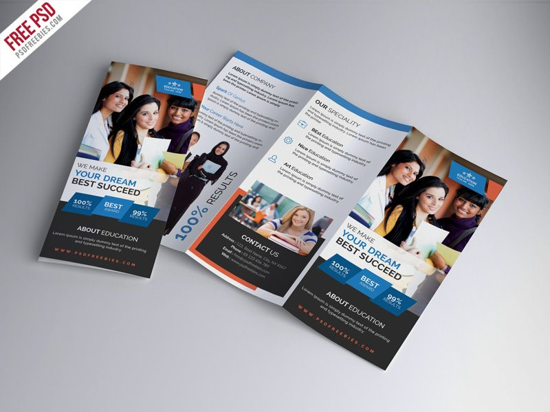 Nice University Education Tri Fold Brochure Psd Template Download