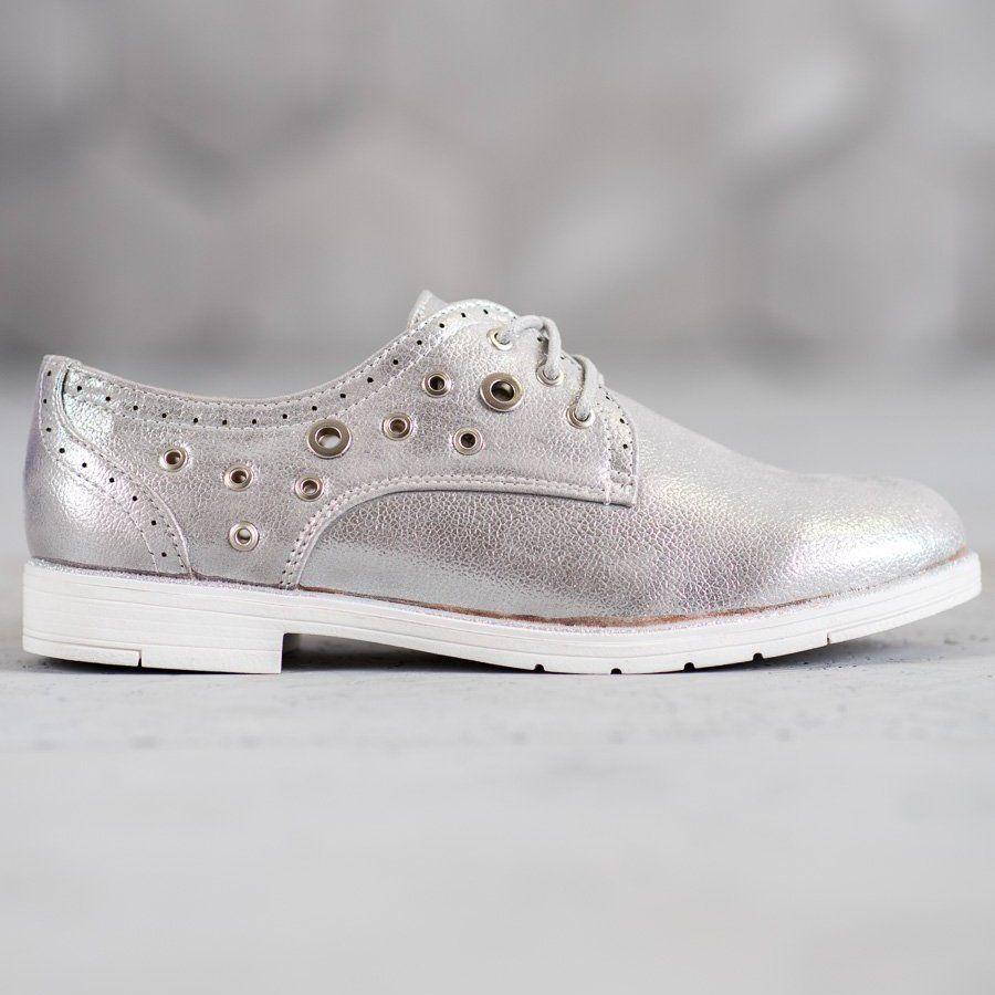 Shelovet Wiazane Polbuty Z Eko Skory Szare Wedding Sneaker Shoes Golden Goose Sneaker