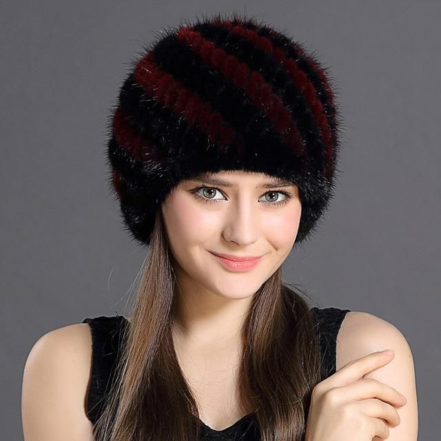 9975a8cb7892a QiuMei Women s Winter Hats Lined Natural Real Fur Cap New Fur Knitted Cap  Women Pineapple Hat Genuine Mink Fur Hat Female Winter