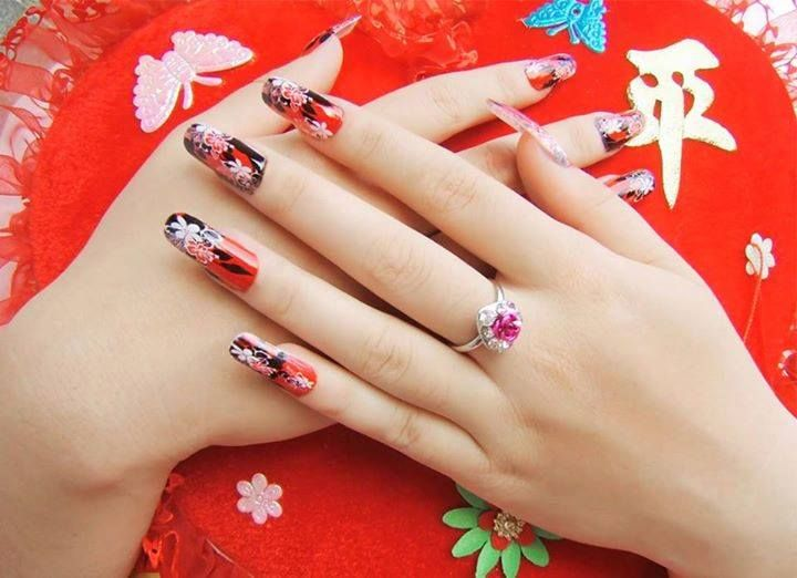 Pretty clip on red nails   Nail Art   Pinterest   Red nails