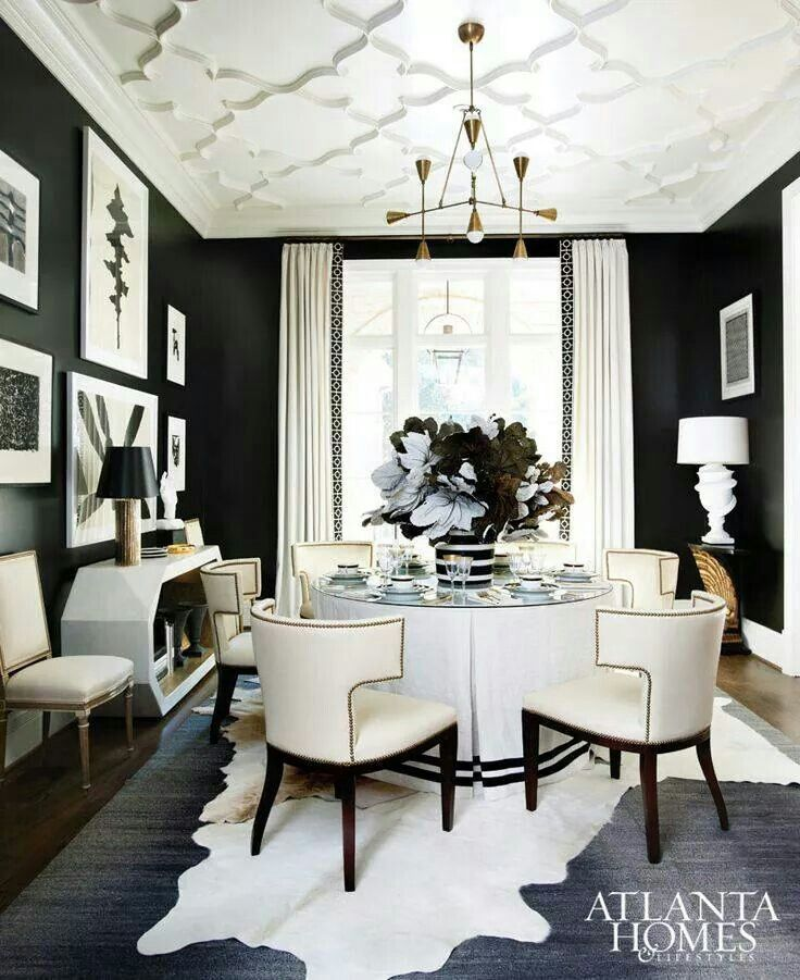 Love The Color Scheme Of This Room Transitional Dining Room Black And White Dining Room White Dining Room