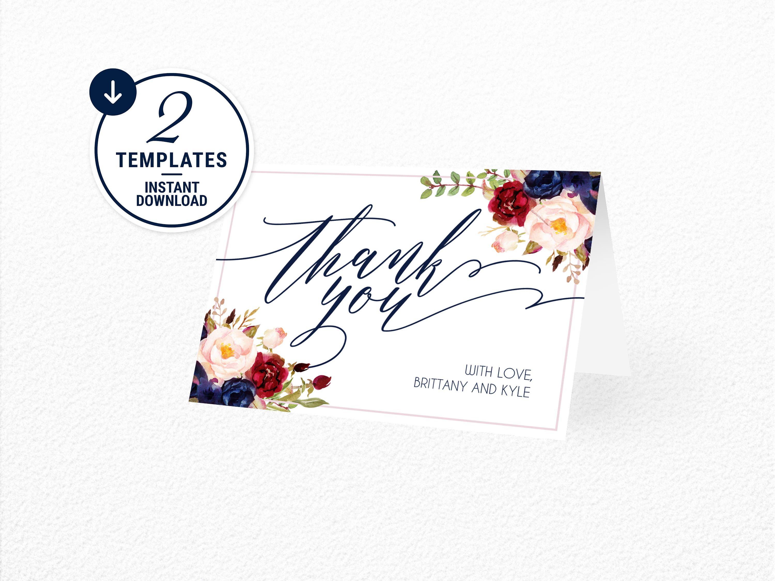 thank you card, thank you card template, floral thank you card