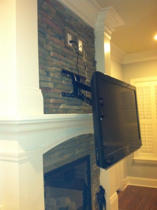 Mount Tv Above Masonry Fireplace House In 2019 Tv Above