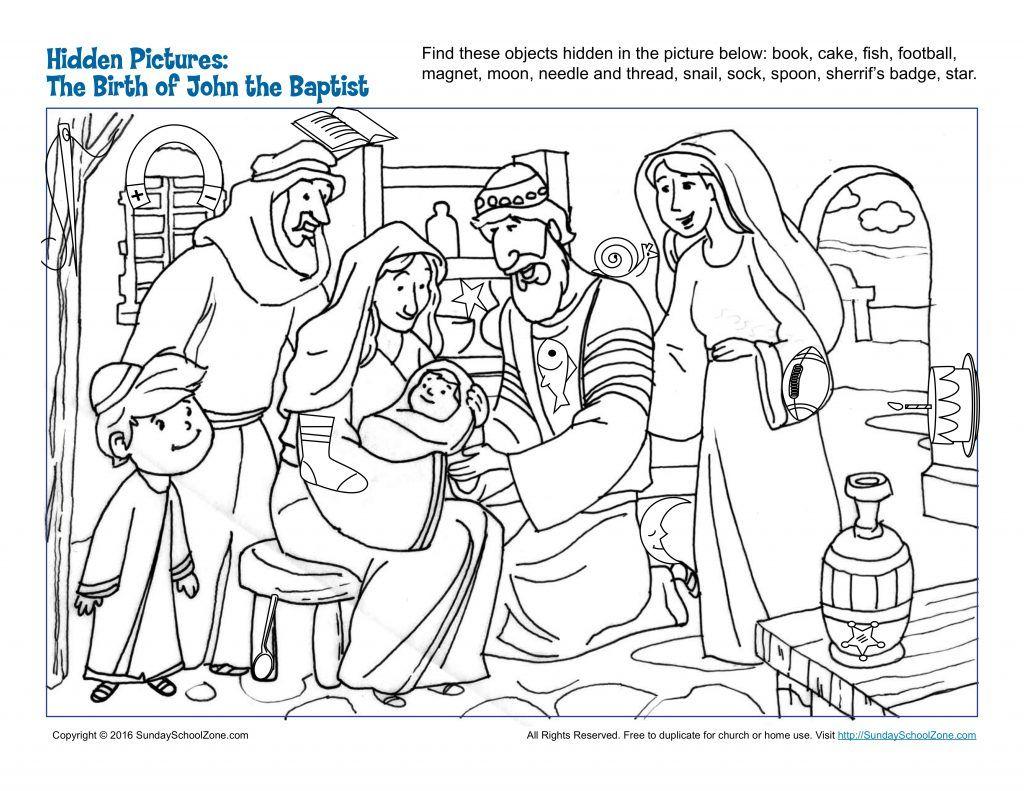 The Birth Of John The Baptist Hidden Pictures Children S Bible Activities Sunday School Activities For Kids Childrens Bible Activities Sunday School Activities Bible Activities