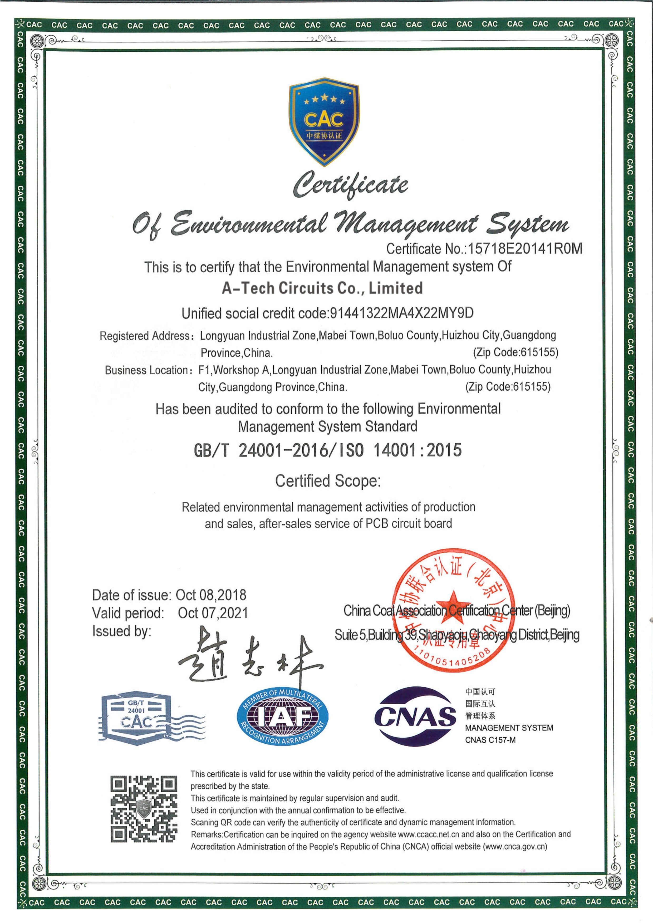 Pcb Certificate With Iso 14001 2015 Environmental Management System Printed Circuit Board Circuit Board