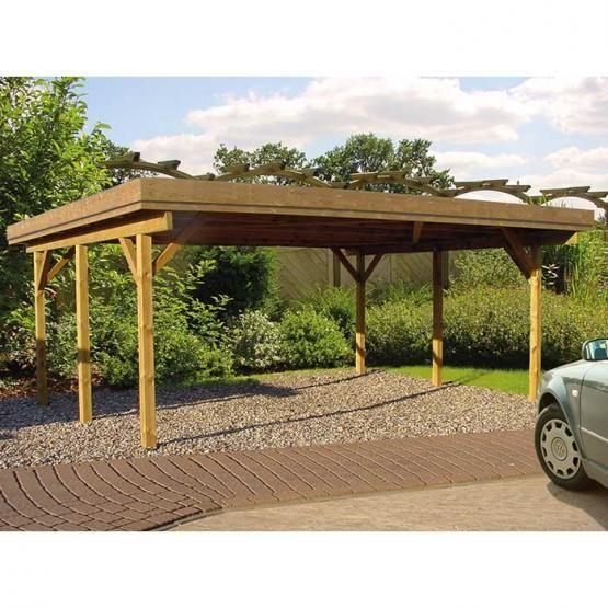 Freitragendes Breites Doppelcarport Modell Mit Flachdach Und Pragnanter Massivholz Blende Dreiseitig Ca 27 Cm Hoch Gunsti Carport Doppelcarport Carports