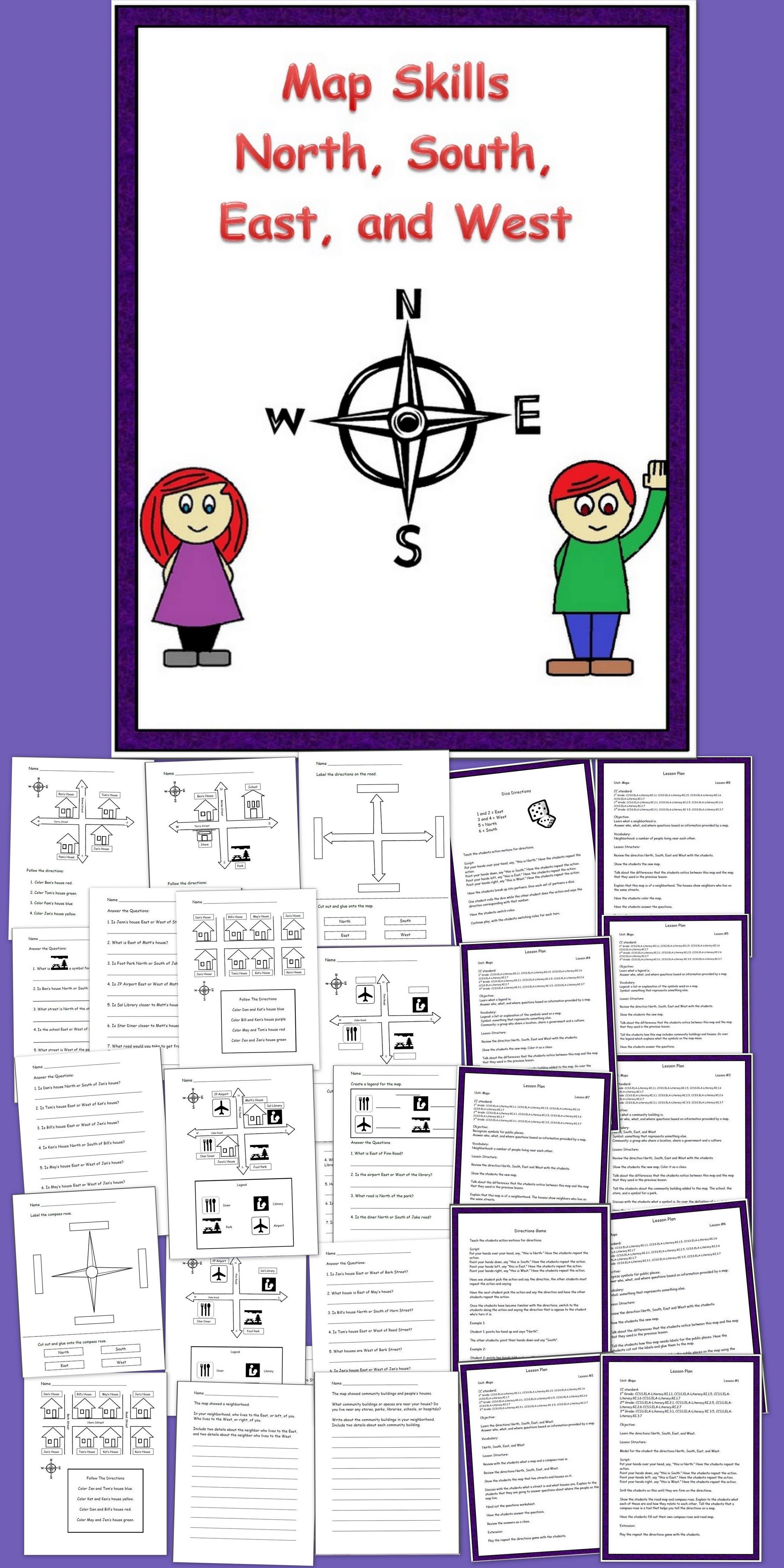Map Skills N S E W Map Skills Social Studies Maps Map Skills Worksheets [ 5120 x 2560 Pixel ]