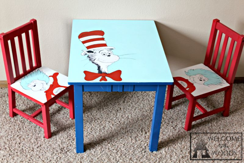 Hand Painted Table And Chairs Cat In The Hat Thing 1 2 Dr Seuss Theme Kids Furniture