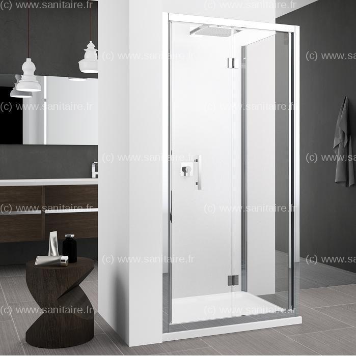 Porte pliante Zephyros S 70cm verre Transparent, profilé Silver - porte accordeon pour douche