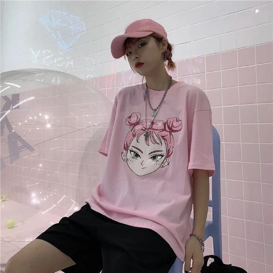 Pink T Shirt Korean Girl Harajuku Outfits Fashion Clothing Store Korean Girl