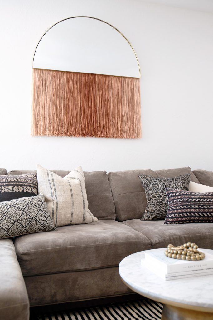 DIY: Half-Circle Mirror with Fringe Wall Hanging | Quirky ...