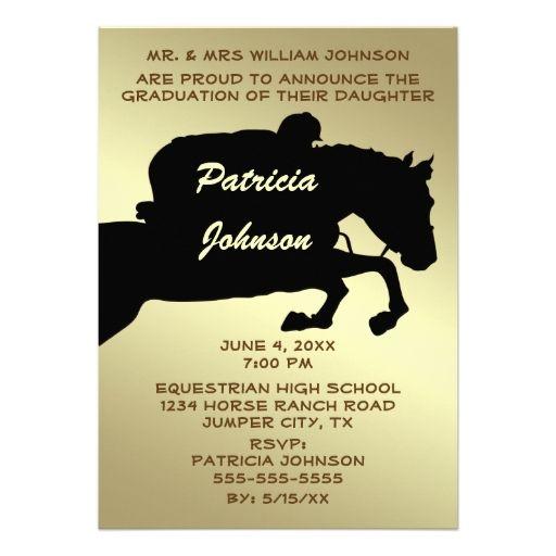 Equestrian Animal Horse 2014 Graduation Black Gold Personalized