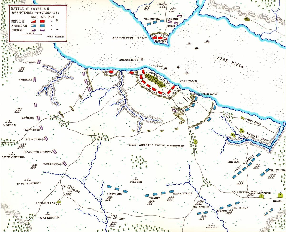 Map of the Battle of Yorktown the American Revolution by