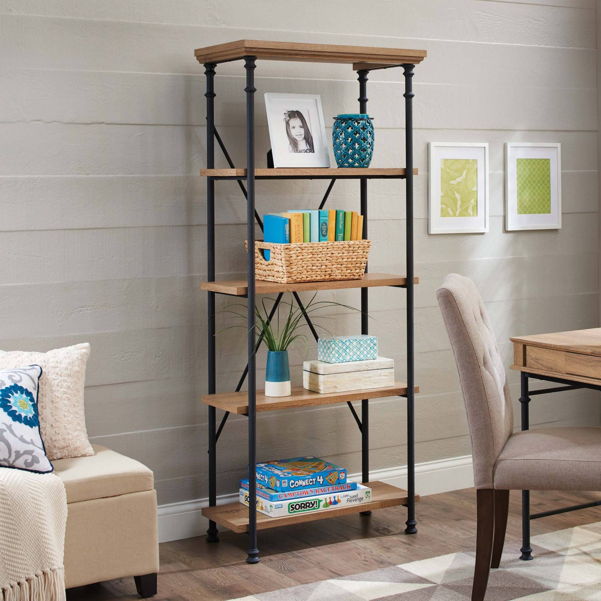 Better Homes And Gardens River Crest 5 Shelf Bookcase Rustic Oak Finish